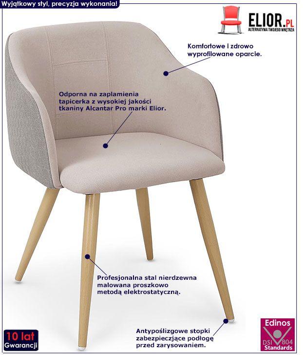 Beżowe krzesło kuchenne z wzorem Limer