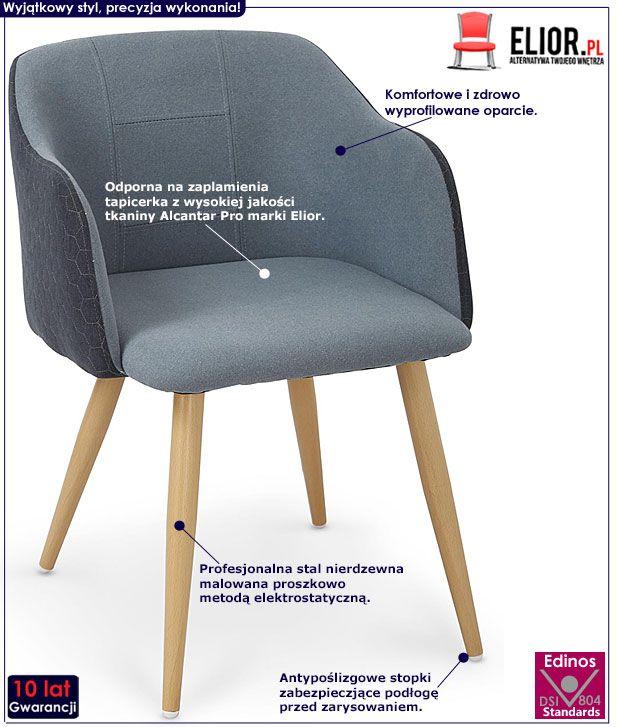 Niebieskie krzesło w nowoczesnym stylu Limer