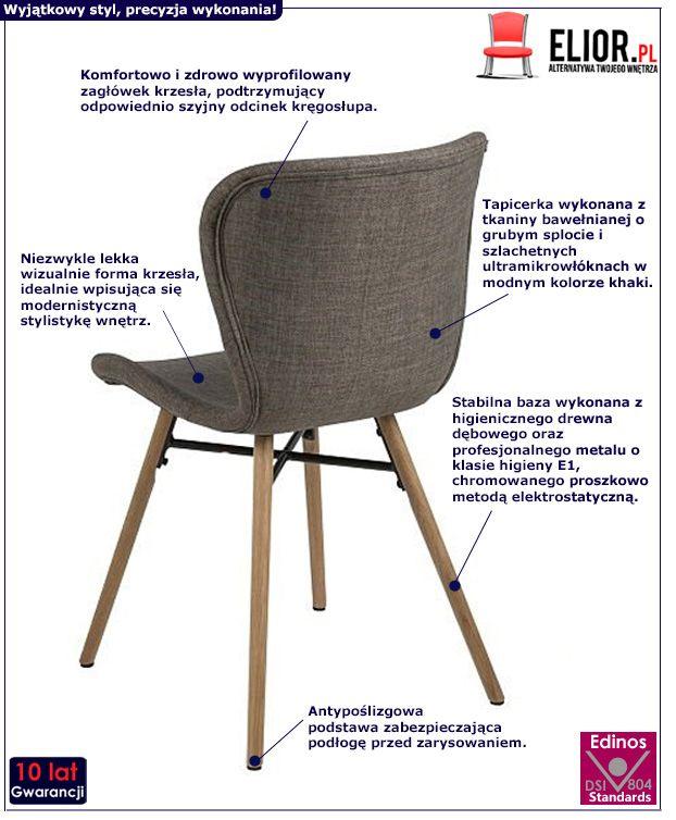 Nowoczesne krzesło Ksawi - khaki