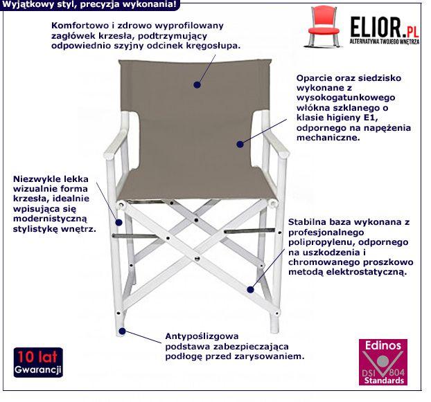Rozkładane krzesło Broks - biało szare