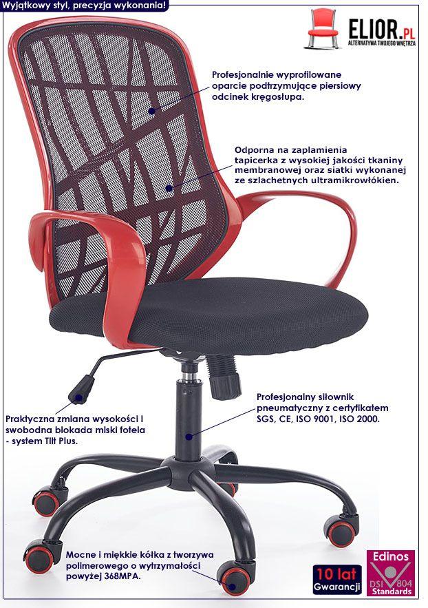 Czarno-czerwone krzesło obrotowe do biurka Regan