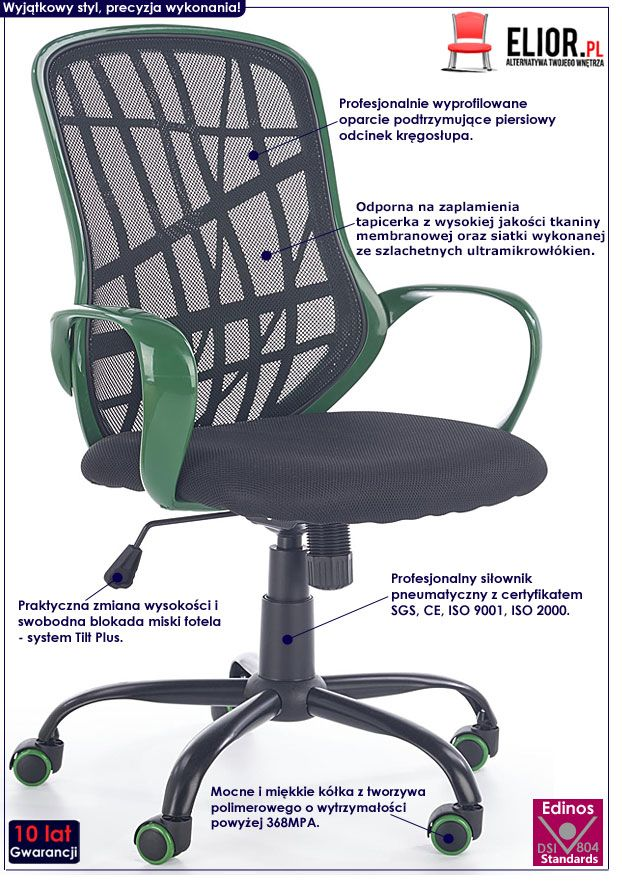 Czarno-zielony fotel obrotowy do biurka Regan