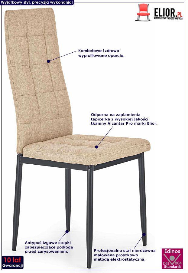Beżowe krzesło pikowane do stołu Erfan