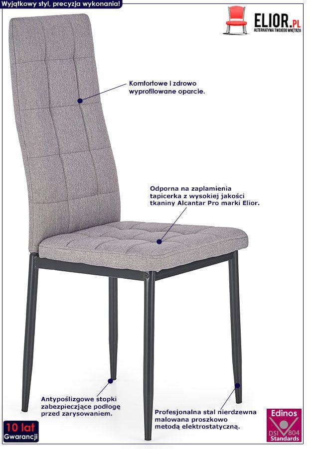 Szare krzesło pikowane do kuchni, salonu Erfan