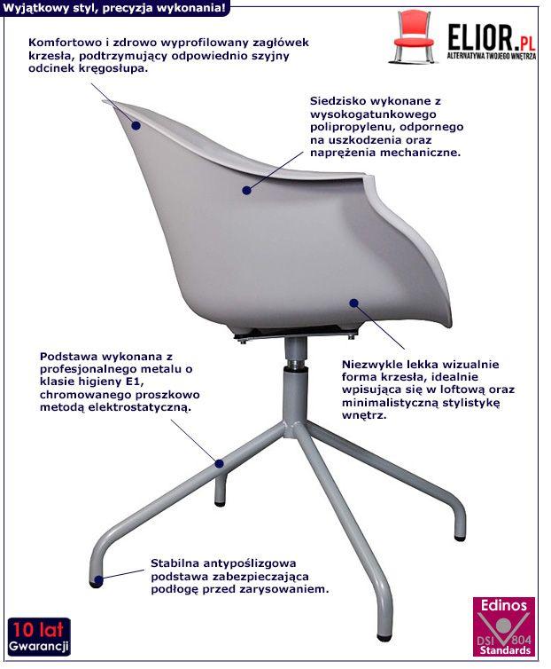 Stylowe krzesło obrotowe Dubby - szare