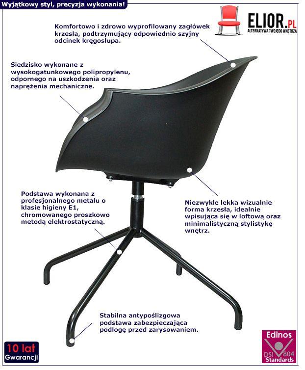 Loftowe krzesło Dubby czarne - obrotowe