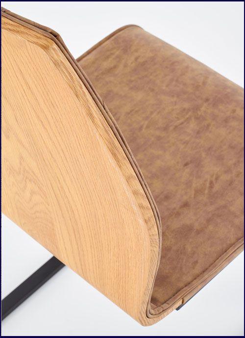Brązowe krzesło kuchenne z drewnianym oparciem Alsen