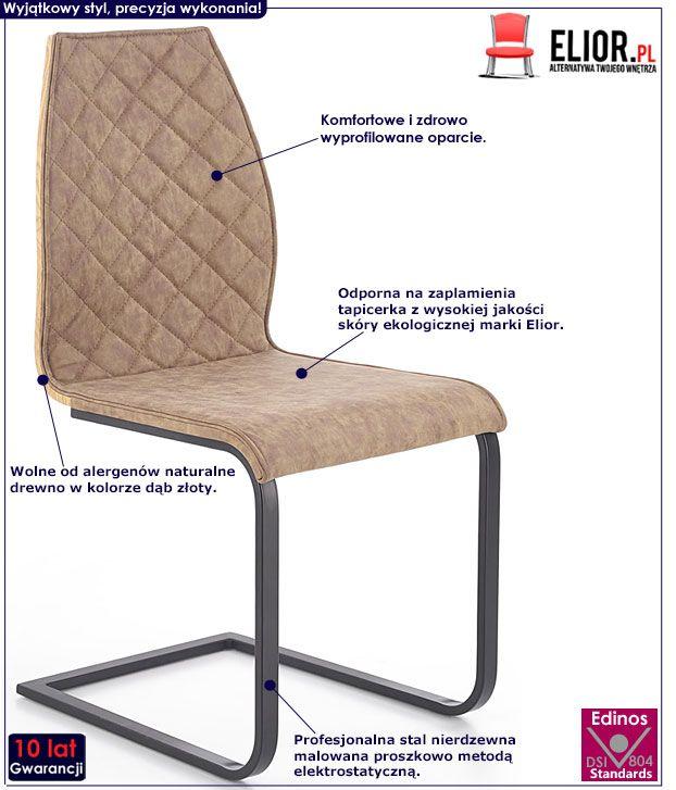 Brązowe krzesło do salonu, kuchni, jadalni Alsen