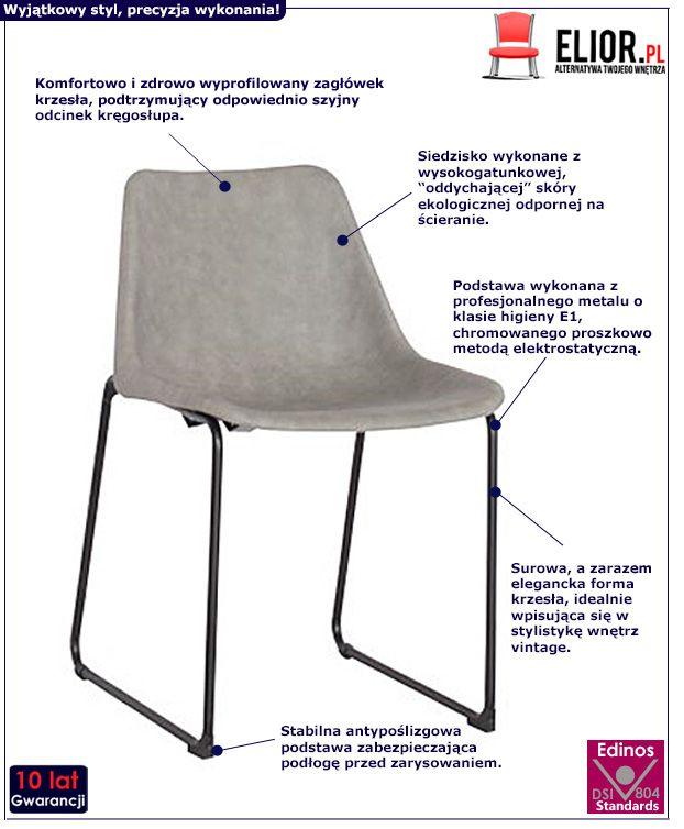 Industrialne krzesło Melbro - szare
