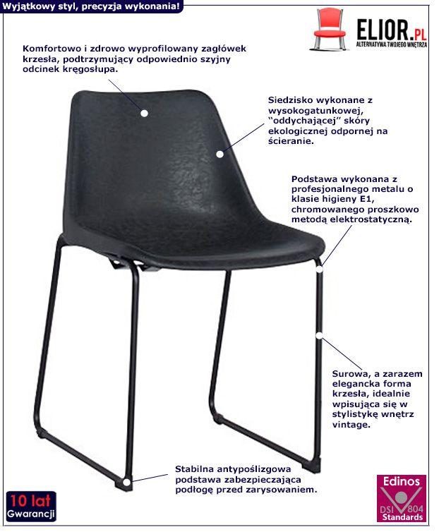 Stylowe krzesło Melbro czarne - styl retro