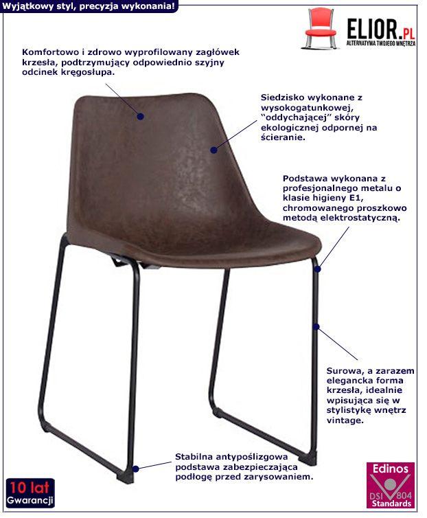 Modne krzesło retro Melbro - brązowe