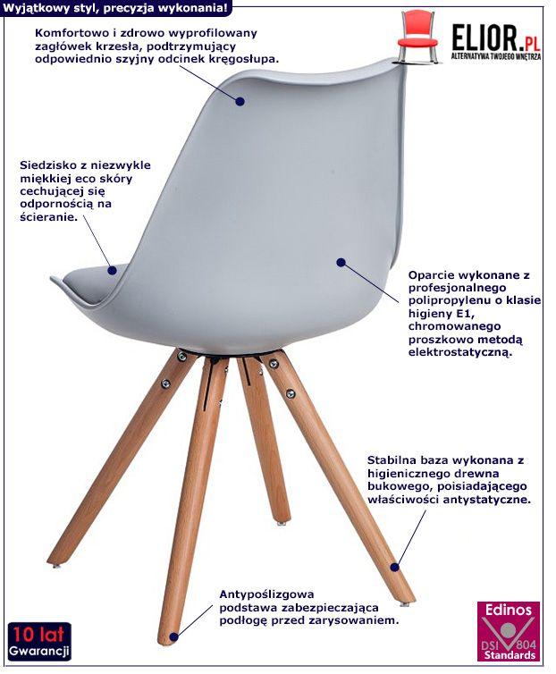 Minimalistyczne krzesło Netos - szare