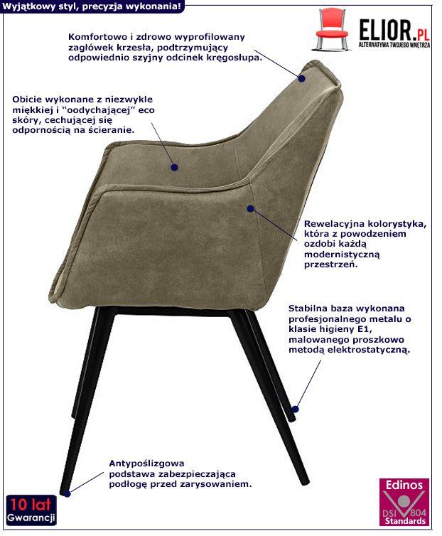 Nowoczesne krzesło Canno - khaki