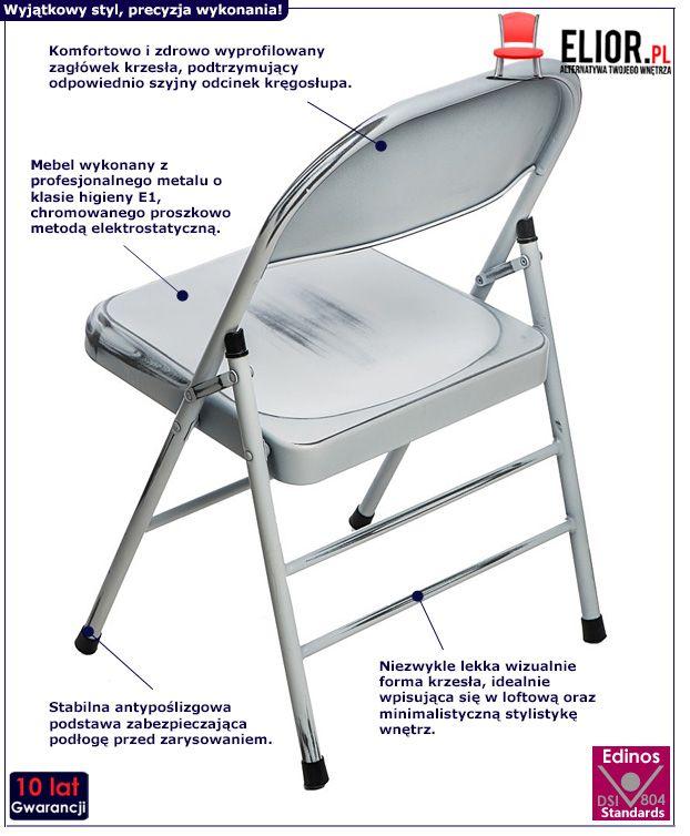 Loftowe krzesło Ledox 2X do jadalni - białe