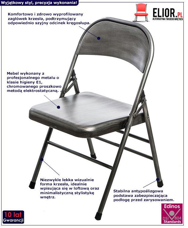 Nowoczesne krzesło Ledox 2X - srebrne