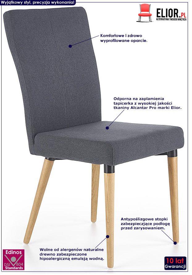Szare krzesło kuchenne drewniane Midler
