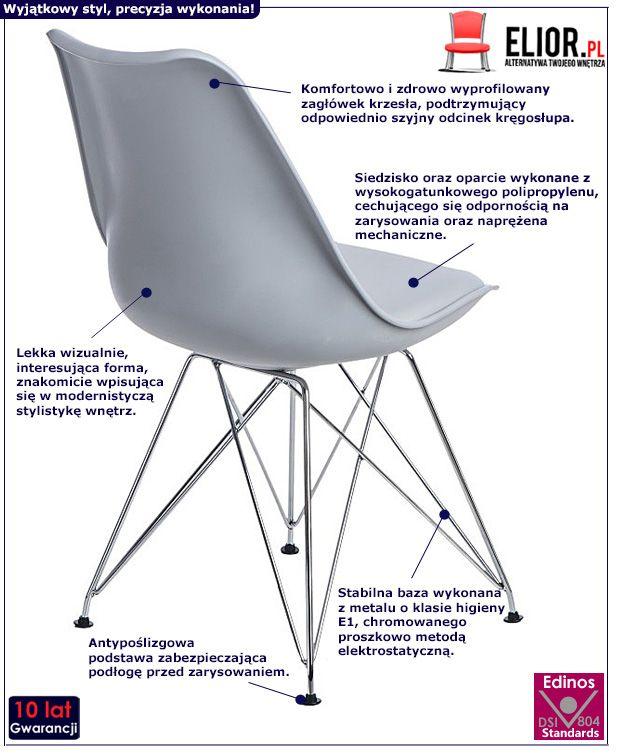 Skandynawskie krzesło Nikel - szare