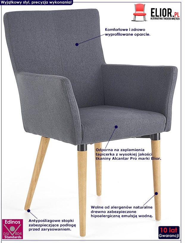 Szare krzesło z podłokietnikami Ashon
