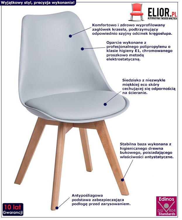 Minimalistyczne krzesło Netos 2X - szare