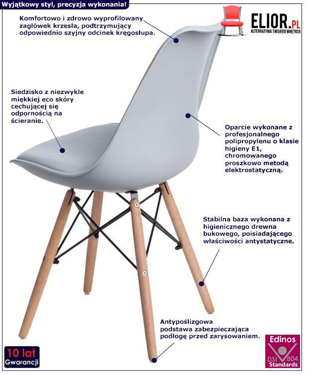 Stylowe krzesło Netos 3X - szare