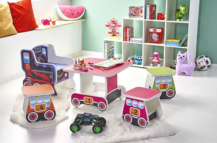 Komplet mebli dla dzieci w kształcie pociągu Milo