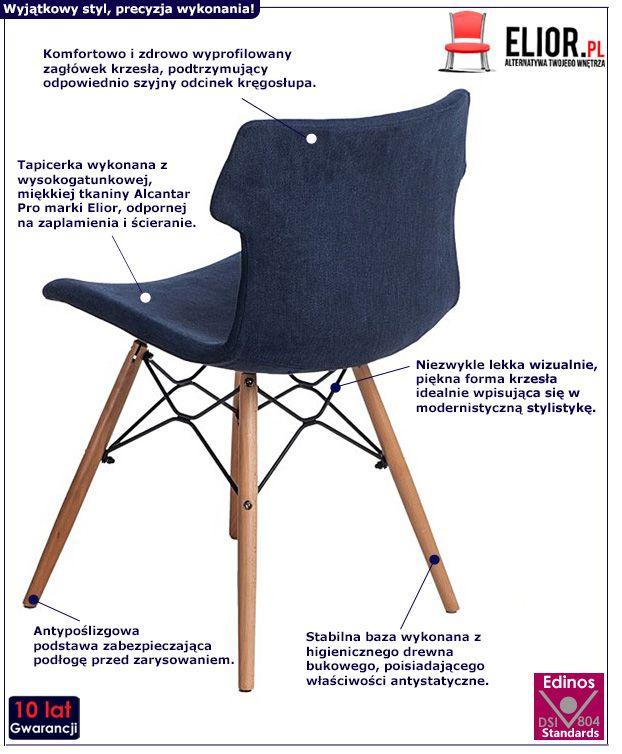 Skandynawskie krzesło Zalan - niebieskie