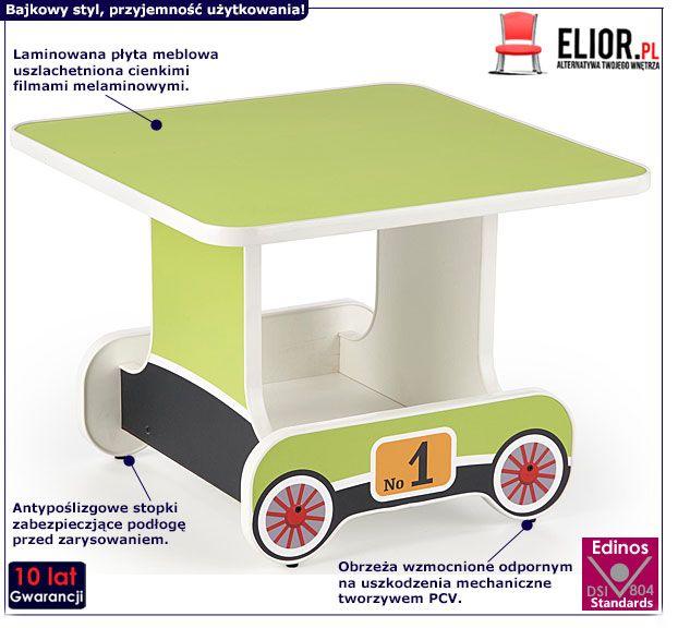 Zielony stolik dziecięcy wagonik Milo 3X