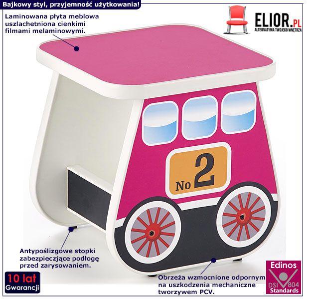 Różowy taboret dla dziewczynki wagonik Milo 4X
