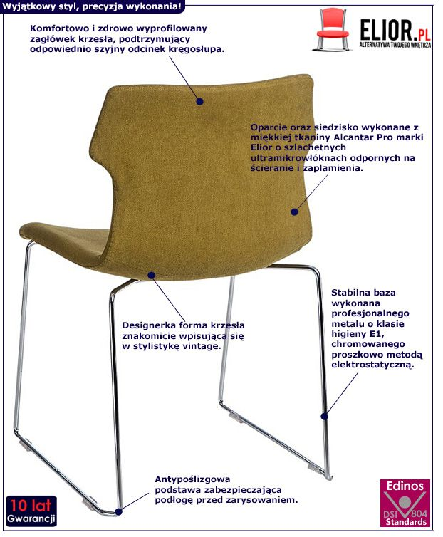 Modne krzesło Presid retro - ciemnozielone