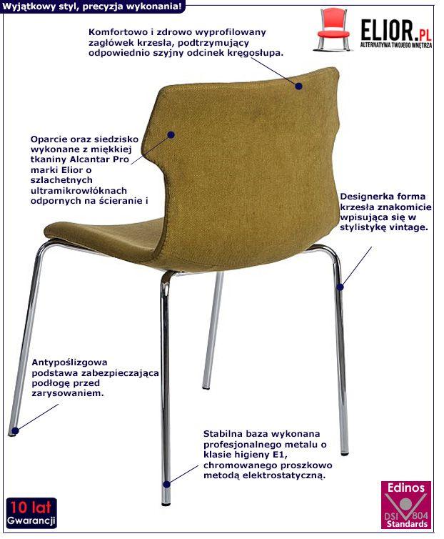 Stylowe krzesło retro Presid 2X - ciemnozielone