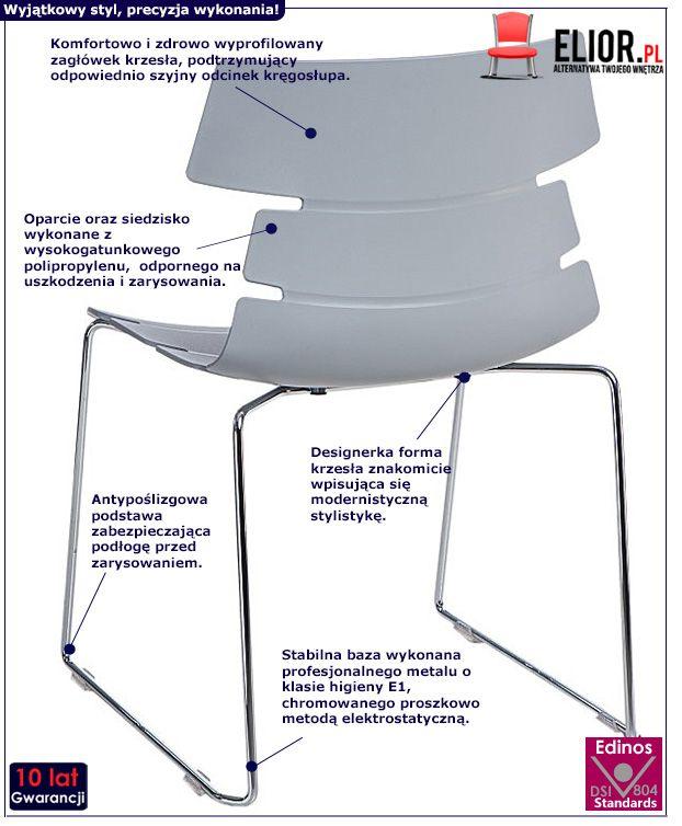 Nowoczesne krzesło Belto 2X - szare