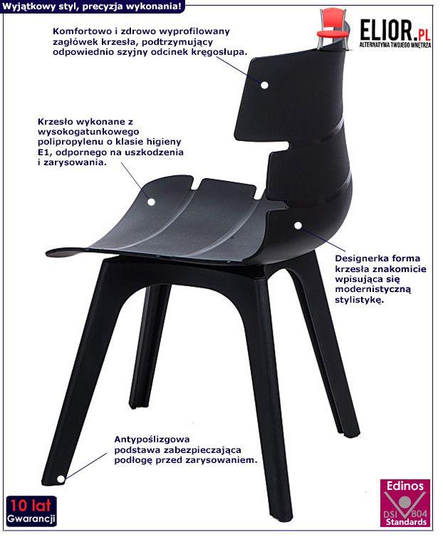Nowoczesne krzesło Mulbry - czarne