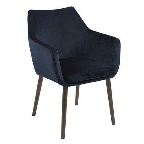 Zdjęcie produktu Tapicerowany fotel welurowy Novo - granatowy.
