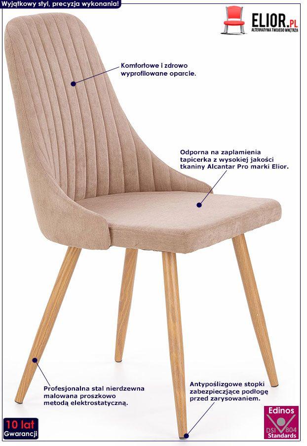 Beżowe krzesło do salonu Isent
