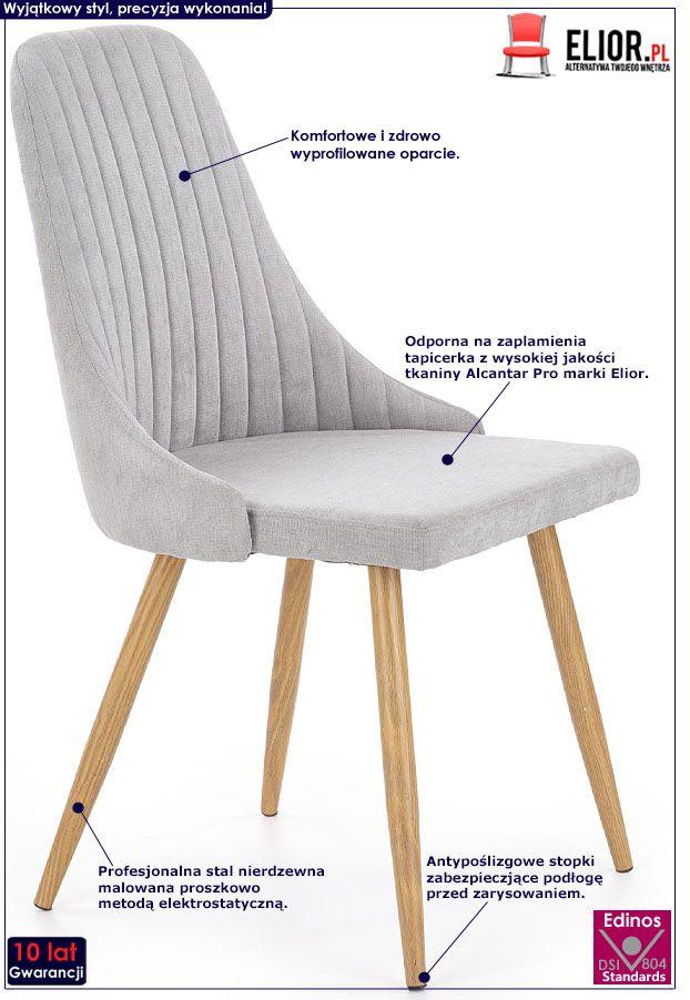 Jasnoszare krzesło do kuchni, salonu Isent