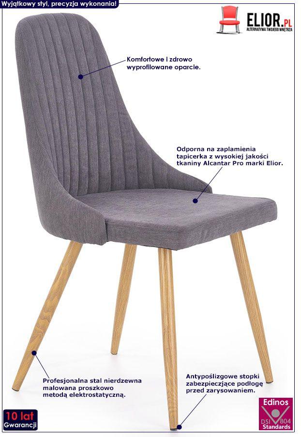 Ciemnoszare krzesło kuchenne tapicerowane Isent