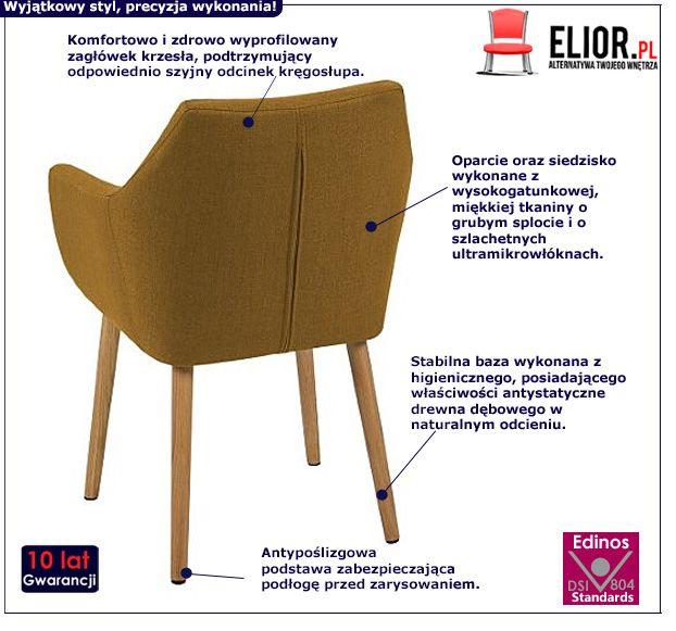 Elegancki fotel Elpro - żółty