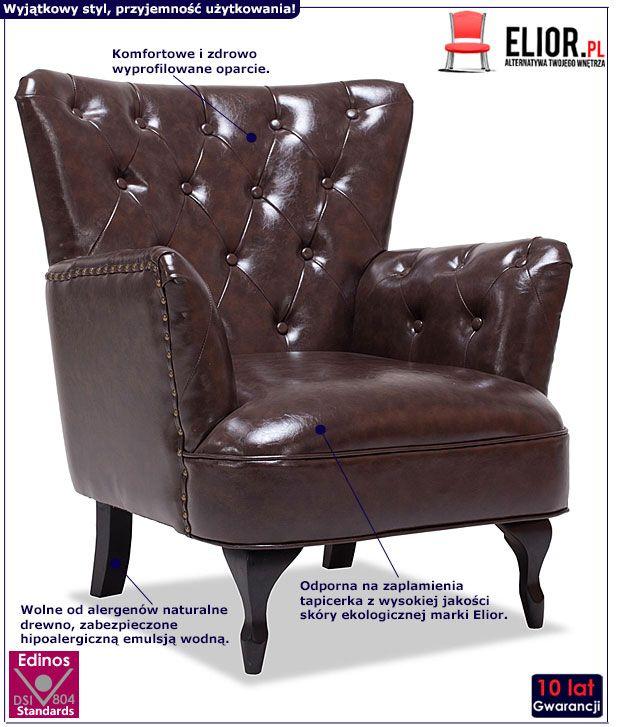 Brązowy pikowany fotel wypoczynkowy Ennis