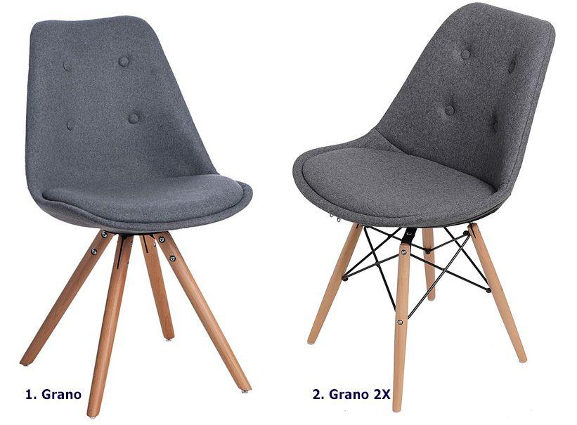 Skandynawskie krzesło Grano - szare
