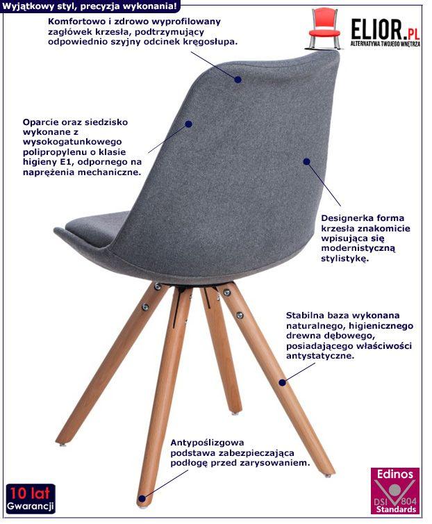 Nowoczesne krzesło Grano - szare