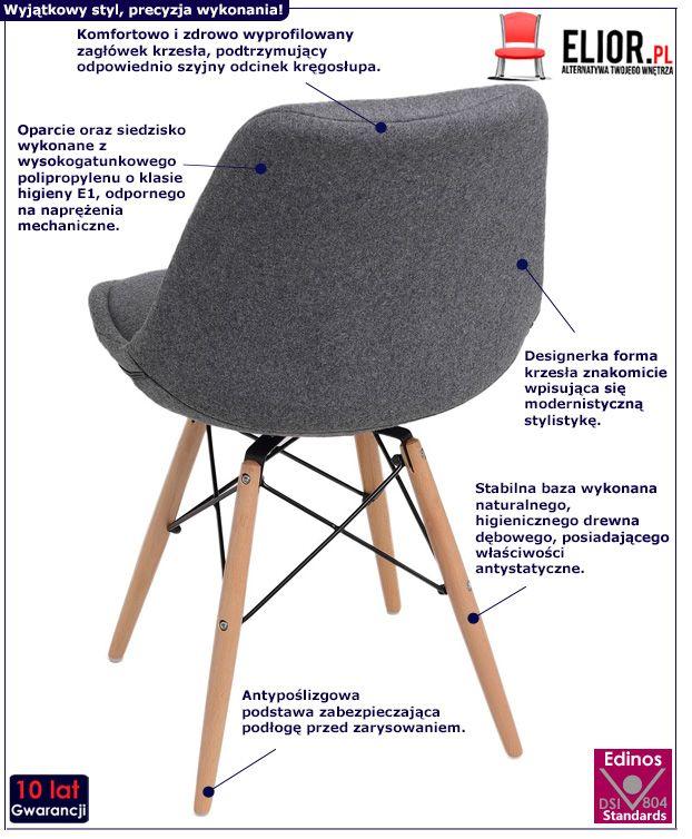 Piękne krzesło Grano 2X - szare