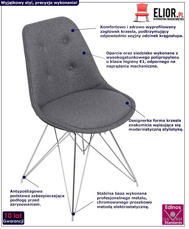 Industrialne krzesło Luko - szare