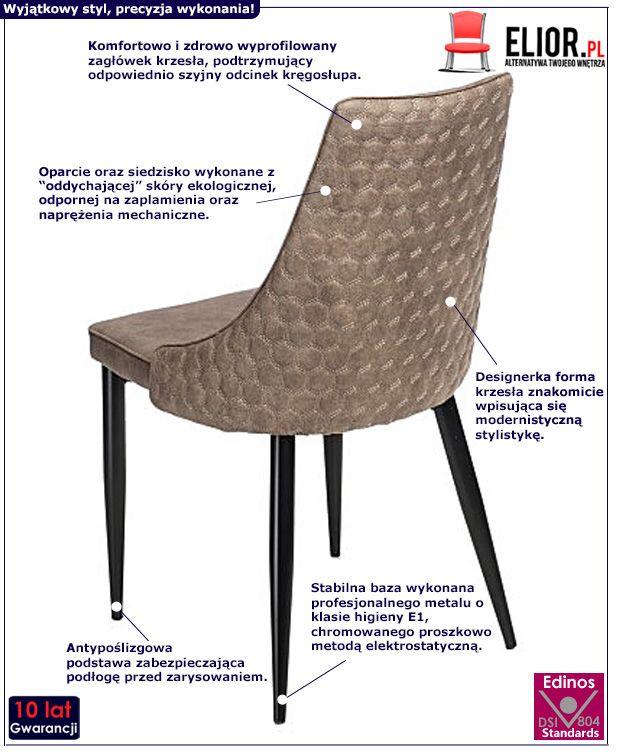 Stylowe krzesło Carano - brązowe