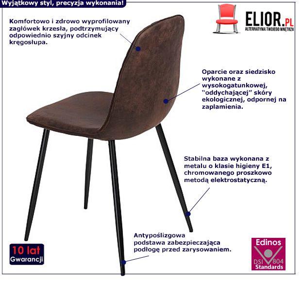 Eleganckie krzesło Tulio - brązowe
