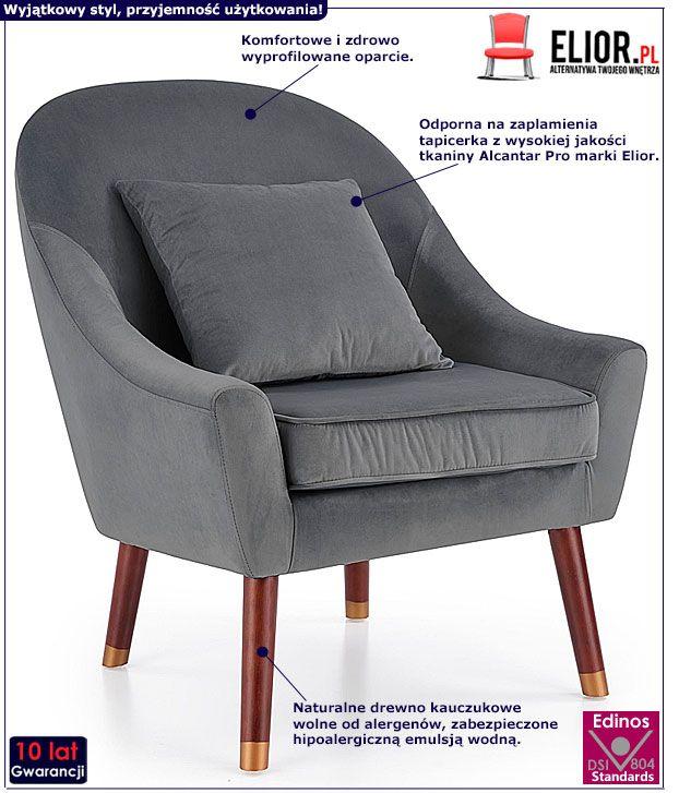 Popielaty fotel wypoczynkowy do salonu Rafis