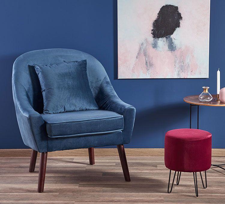 Niebieski fotel wypoczynkowy Rafis