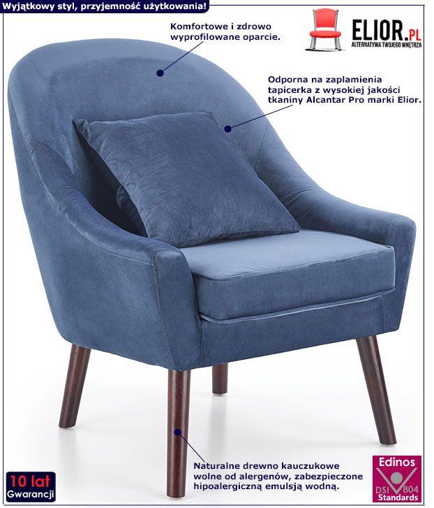 Niebieski fotel tapicerowany do biura Rafis