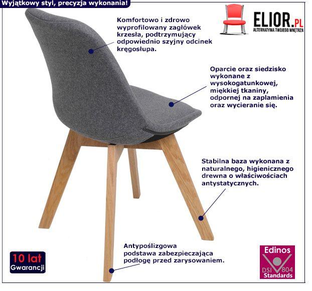 Skandynawskie krzesło Toro - szare