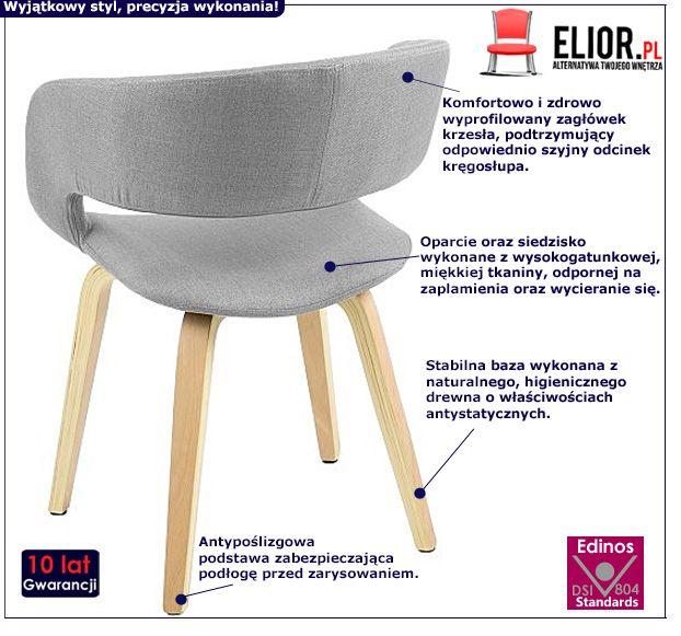 Nowoczesne krzesło Stovo - jasnoszare