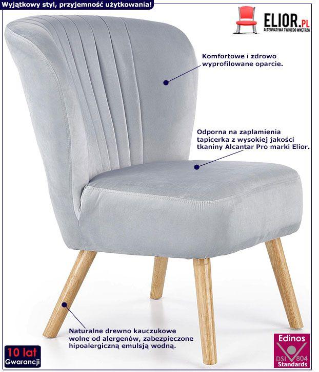 Szary fotel wypoczynkowy tapicerowany Lorid